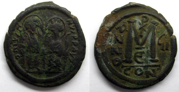 Ancient Coins - Justin II AE Folles: Constantinople mint