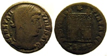 Ancient Coins - Constantine I: Camp gate of Siscia