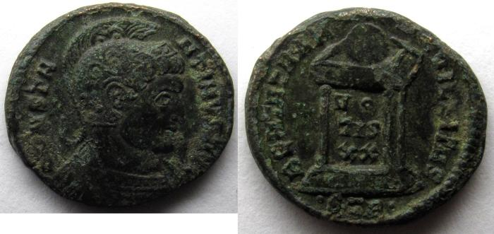 Ancient Coins - Constantine I: AE Folles, Globe on altar, Trier