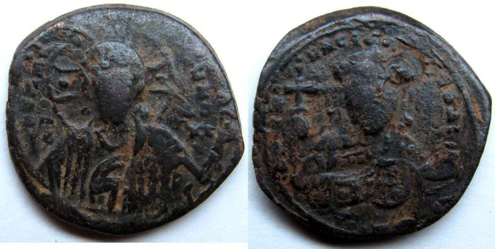 Ancient Coins - Constantine X: AE Folles, Bust of Christ and facing bust