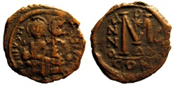 Ancient Coins - Justin II, AE Folles; Constantinople