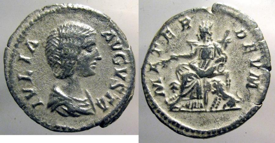 Ancient Coins - Julia Domna, AR Denarius; Magna Mater reverse