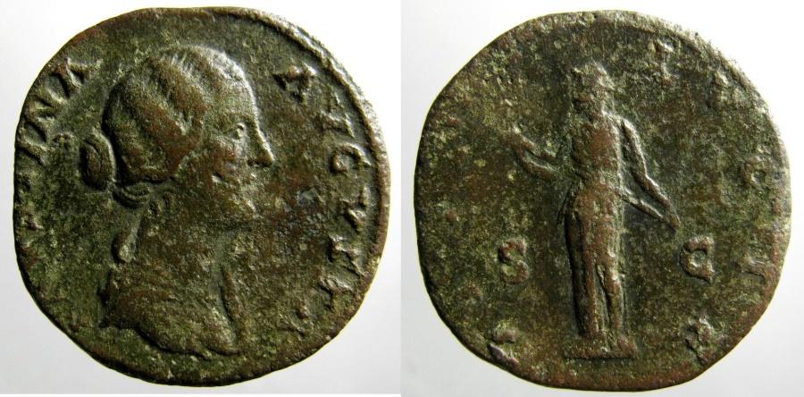 Ancient Coins - Faustina Junior: Sestertius, Diana Lucif reverse