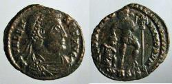 Ancient Coins - Valens; Siscia, AE3, Emperor dragging captive reverse