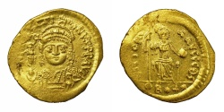 Ancient Coins - JUSTIN II, AD 565 - 578.   Lightweight Solidus of 22 Siliquae, Constantinople or Antioch.   Rare, near EF.