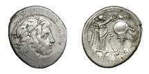 Ancient Coins - Anonymous.   Victoriatus, Sicilian mint, 211 - 210 BC.   Good VF.