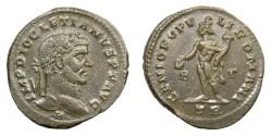 Ancient Coins - DIOCLETIAN, AD 284 - 305.   Follis, Treveri (Trier), AD 296 - 297.   Rare variety, near EF.