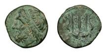 Ancient Coins - Syracuse.   HIERON II, 275 - 215 BC.   Æ 19, 240 - 215 BC.   Near EF.