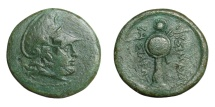Ancient Coins -  LYSIMACHOS, 323 - 281 BC.   Æ 23.   Rare, VF.