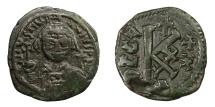 Ancient Coins - JUSTINIAN I, AD 527 - 565.   Half Follis, Cyzicus, year 30 = AD 556 - 557.   Rare, VF.