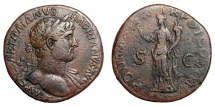 Ancient Coins - HADRIAN, AD 117 - 138.   Sestertius, Rome, AD 119.   VF.