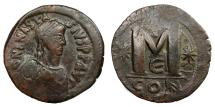 Ancient Coins - ANASTASIUS I, AD 491 - 518.   Follis, Constantinople.   VF.
