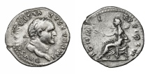 Ancient Coins - VESPASIAN, AD 69 - 79.   Denarius, Rome, AD 75.   Good VF.