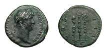 Ancient Coins - HADRIAN, AD 117 - 138.   Quadrans, Rome, AD 134 - 138.   Rare, good VF.