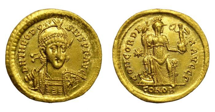 Ancient Coins - THEODOSIUS II, AD 402 - 450.   Solidus, Constantinople, AD 408 - 420.   Near EF.