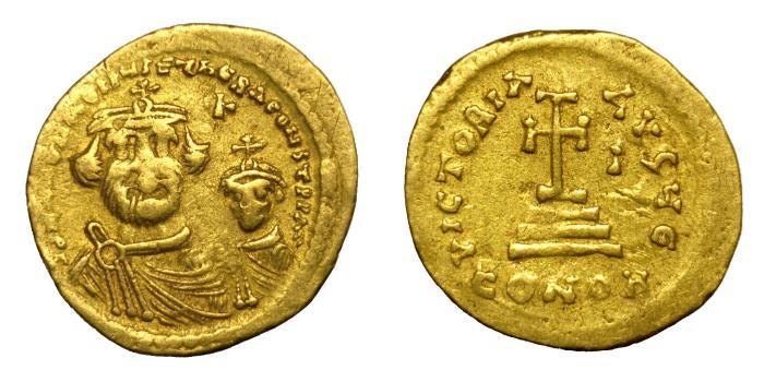 Ancient Coins - HERACLIUS, AD 610 - 641.   Solidus, Constantinople.   Rare, near VF.