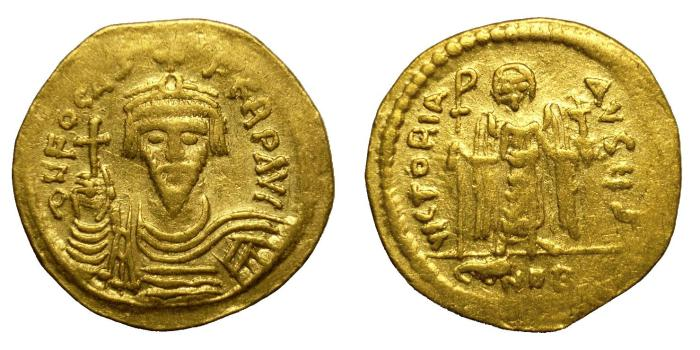 Ancient Coins - PHOCAS, AD 602 - 610.   Solidus, Constantinople.   Near VF.