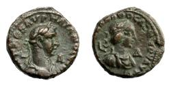 Ancient Coins - Egypt  - Alexandria.   AURELIAN, AD 270 - 275, and VABALLATHUS.   Æ-Tetradrachm, AD 270 - 271.   Near EF.