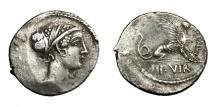 Ancient Coins - T. CARISIUS.   Denarius, Rome, 46 BC.   Rare, near EF.