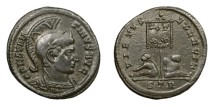 Ancient Coins - CONSTANTINE I, AD 307 - 337.   Follis, Treveri (Trier), AD 320.   Rare, near EF.