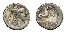 Ancient Coins - D. SILANUS.   Denarius, Rome, 91 BC.   VF.