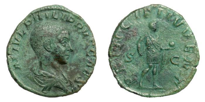 Ancient Coins - PHILIPP II, Caesar AD 244 - 247.   Sestertius, Rome.   EF.