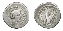 Ancient Coins - BRUTUS, - 42 BC.   Denarius, Lycian mint, 42 BC.   Rare, fine.