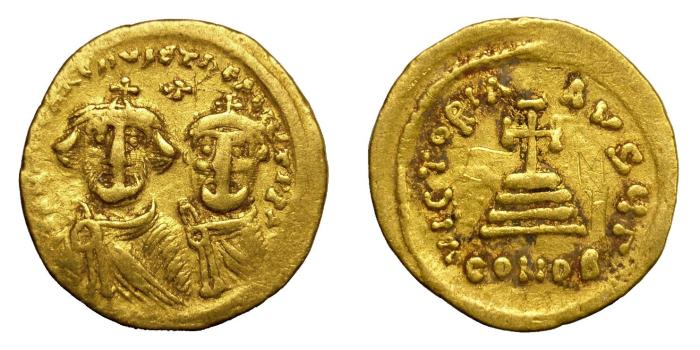 Ancient Coins - HERACLIUS, AD 610 - 641.   Solidus, Constantinople.   Near VF.