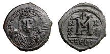 Ancient Coins - MAURICE TIBERIUS, AD 582 - 602.   Follis, Theoupolis = Antioch, AD 594 - 595.   Good VF.