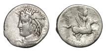 Ancient Coins - COSSUTIUS SABULA.   Denarius, Rome, 74 BC.    Rare, VF / near VF.