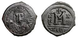 Ancient Coins - MAURICE TIBERIUS, AD 582 - 602.   Follis, Theoupolis = Antioch, AD 594 - 595.   Good VF.
