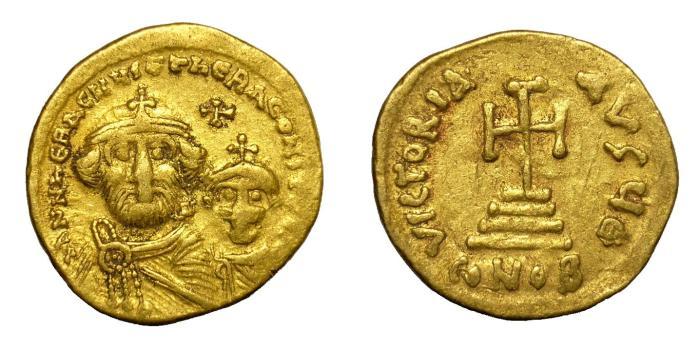Ancient Coins - HERACLIUS, AD 610 - 641.   Solidus, Constantinople.   VF.