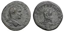 Ancient Coins - GETA, Aug. AD 209 - 211.   Sestertius, Rome, AD 211.   Rare, near EF.
