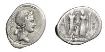 Ancient Coins - CN. EGNATIUS MAXSUMUS.   Denarius, Rome, 75 BC.   Rare, VF.