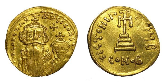 Ancient Coins - CONSTANS II, AD 641 - 668.   Solidus, Constantinople.   VF.