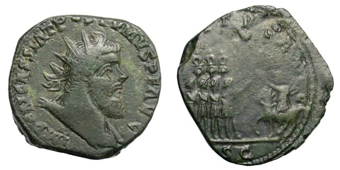 Ancient Coins - POSTUMUS, 260 - 269.   Sestertius or Double Sestertius, Lugdunum (Lyon)(?), AD 261 - 263.   Very rare, VF.