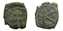 Ancient Coins - JUSTIN II, AD 565 - 578.   Half Follis, Thessalonica, AD 571 - 572.   VF.