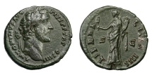 Ancient Coins - ANTONINUS PIUS, AD 138 - 161.   As, Rome, AD 145 - 161.   Very rare, good VF.