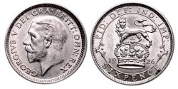 World Coins - George V. Sixpence 1926.   Uncirculated.