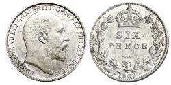 World Coins - Edward VII. Sixpence. 1902.   Uncirculated..  6415.