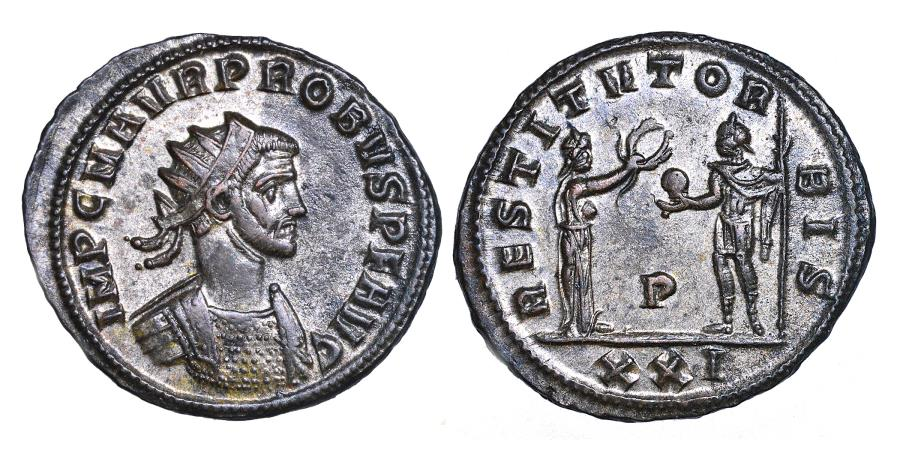 Ancient Coins - Probus. Ae (silvered) antoninianus. Antioch. 276--282 A.D.