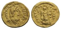 Ancient Coins - JUSTINIAN I. 527-565 AD. GOLD Tremissis. Constantinople mint.