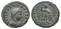 Ancient Coins - Crispus (Caesar, 316-326). Æ Follis. Siscia, 317.  R/ Crispus standing