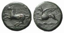 Ancient Coins - SICILY, Syracuse. Dionysios II. 367-357 BC. Æ Tetras. Griffin / Horse