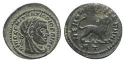 Ancient Coins - Divus Constantius I (died AD 306). Æ Fractional Follis. Rome, 317-8. R/ MEMORIAE AETERNAE LION EXTREMELY RARE