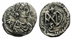 Ancient Coins - Justinian I. 527-565. AR Half Siliqua. Carthage mint. Struck 537-552.