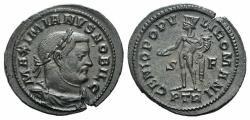 Ancient Coins - GALERIUS, as Caesar. 293-305 AD. Æ Follis. Treveri (Trier) mint. Struck 303-305 AD. R / GENIO