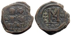 Ancient Coins - Justin II and Sophia (565-578). Æ 40 Nummi - Constantinople, year 3