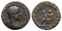 Ancient Coins - Philip II (Caesar, 244-247). Æ Sestertius - R/ Philip I and Philip II seated