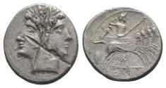 Ancient Coins - ROME REPUBLIC Anonymous, Rome, c. 225-212 BC. AR Quadrigatus. Laureate head of Janus. R/ Jupiter in quadriga